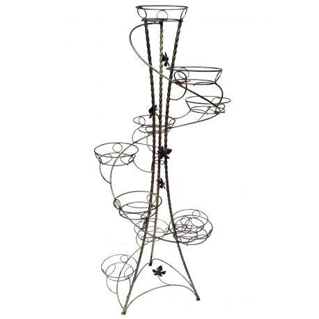 Kovový stojan na kvety točený vežovitý spiral 10 W-018
