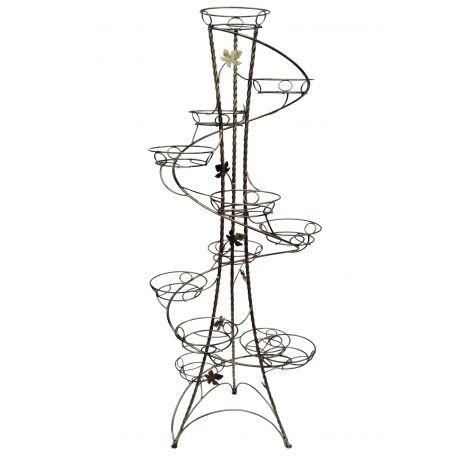Kovový stojan na kvety točený vežovitý spiral 12 W-017