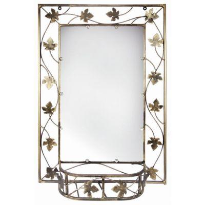 Kovové dekoračné zrkadlo s policou velké M-055