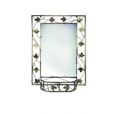 Kovové dekoračné zrkadlo s policou malé M-056