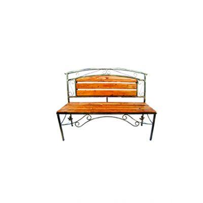 Kovová lavička s dreveným sedením malá