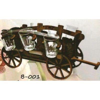 Drevená dekorácia s pohárikmi B-001 voz