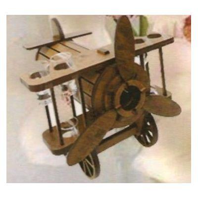 Drevená dekorácia s pohárikmi B-006 lietadlo
