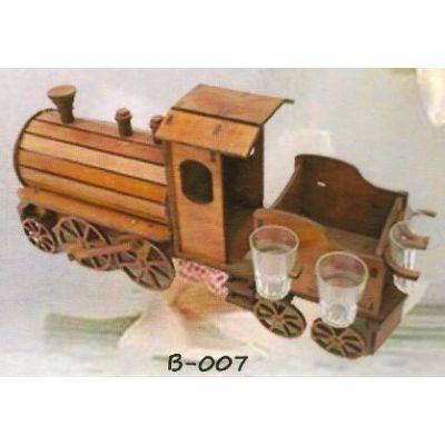 Fa dísz pohártartó B-007 mozdony alakú