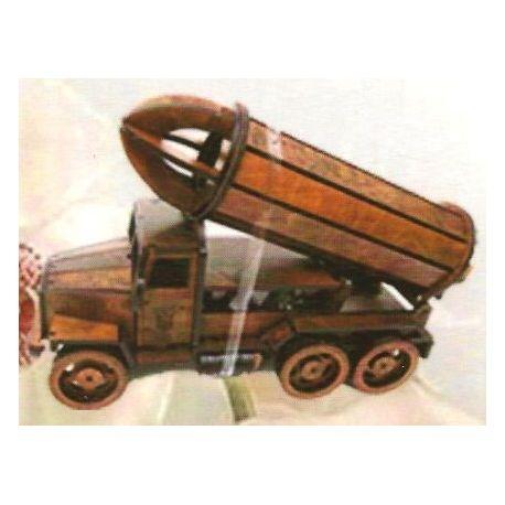Fa dísz pohár- és borosüvegtartó B-008 teherautó alakú